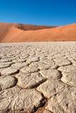 Треснутое поле почвы между красными дюнами стоковое фото