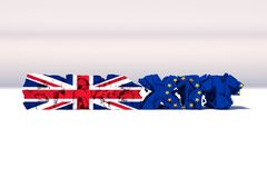 Треснутое brexit Голубой флаг ЕС Европейского союза и флаг Великобритании на сломленном тексте иллюстрация 3d бесплатная иллюстрация