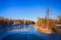 Треснутый лед на реке весной Стоковое фото RF