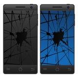 Треснутый мобильный телефон Стоковое Фото