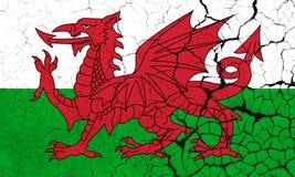 Треснутый флаг Англия Уэльса - кризис иллюстрация вектора