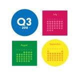 Третий квартал календаря 2018 Стоковая Фотография
