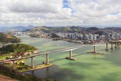Третий мост (Terceira Ponte), панорамный взгляд Vitoria, Vila v Стоковое Изображение RF
