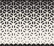 Треугольника шестиугольника вектора линии картина безшовного черно-белого разделенные градиента полутонового изображения Стоковые Фотографии RF