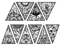 Треугольники нарисованные рукой флористические Стоковая Фотография