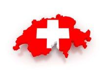Трехмерная карта Швейцарии. Стоковая Фотография RF