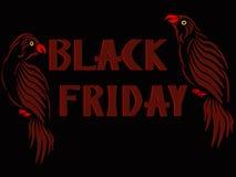 Трехмерное изображение красного попугая с обеих сторон ярлыков черной пятницы стоковая фотография rf