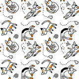 Трехцветные котята спят на поле Стоковое Изображение