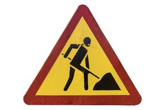 Триангулярное красное ` дорожных работ ` дорожного знака желтого цвета границы Стоковое Изображение RF