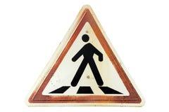Триангулярный ржавый пешеходный переход ` ` дорожного знака границы имбиря Стоковое Фото