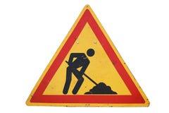 Триангулярное ` дорожного знака под ` конструкции Стоковая Фотография