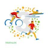 Триатлон для физически люди с ограниченными возможностями Спортсмены с искусством зажима вектора инвалидности Стоковое Изображение RF