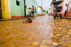 ТРИНИДАД, КУБА - 8-ОЕ СЕНТЯБРЯ 2015: Затопленный стоковая фотография rf