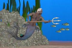 Тритон бог моря иллюстрация вектора