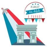 Триумфальная Арка в Франции во время торжества национальной иллюстрации вектора дня Бастилии Ла Prado француза патриотической Стоковые Изображения RF
