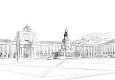 Триумфальный свод на Rua Augusta ¡ Prasà делает Comercio lisbon Португалия европа Нарисованная рукой иллюстрация вектора бесплатная иллюстрация