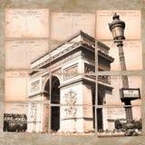Триумфальная Арка, Париж, винтажный коллаж открытки Стоковое фото RF