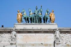 Триумфальная Арка du Carrousel в Париже, Франции. Стоковое Изображение