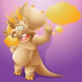 Трицератопс динозавра с пузырем текста Стоковое Фото