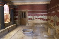 трон комнаты knossos Крита Стоковая Фотография