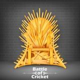 Трон сделанный из крикетных бит Стоковое Изображение