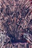 Трон сделанный из шпаг в средневековой ярмарке Стоковые Изображения