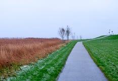 Тропа вдоль банка севера видит на зимний день Husum, Германия Стоковое Изображение