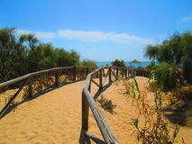 Тропа к пляжу, Chipiona, Кадису, Испании Стоковые Фотографии RF