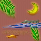 тропик захода солнца искусства Стоковая Фотография RF