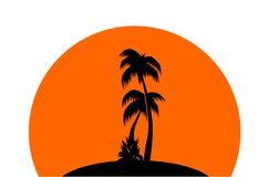 тропик захода солнца иллюстрация штока