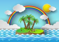 Тропическая ладонь на острове с морем и радугой также вектор иллюстрации притяжки corel иллюстрация штока