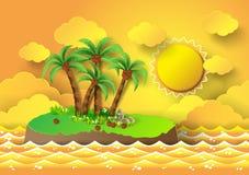 Тропическая ладонь на острове с морем и солнечным светом иллюстрация штока