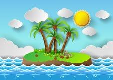 Тропическая ладонь на острове с морем и солнце светят иллюстрация вектора