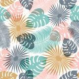 Тропическая безшовная картина в пастельных цветах Дизайн лета тропический с экзотическими листьями ладони Monstera, ладонь, банан иллюстрация вектора
