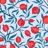 Тропическая безшовная картина с красными апельсинами Предпосылка повторенная плодоовощ Печать вектора яркая для ткани бесплатная иллюстрация