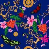 Тропическая безшовная картина с цветками, бабочками, барочными цепями иллюстрация вектора