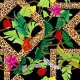 Тропическая безшовная картина с цветками и барочными цепями Заплата в иллюстрация штока