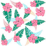 Тропическая иллюстрация вектора картины цветков Стоковое фото RF