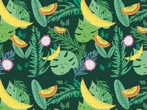 Тропическая картина вектора лета с плодоовощами Стоковое Фото