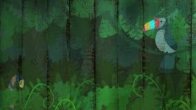 Тропическая картина джунглей на деревянной предпосылке стоковая фотография rf