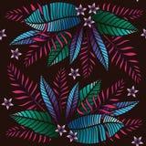 Тропическая картина с экзотическими заводами Безшовная тропическая картина с листьями Бесплатная Иллюстрация