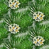 Тропическая картина цветков и листьев безшовная Стоковые Изображения RF