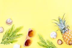 Тропическая концепция лета с аксессуарами, листьями и ананасом моды женщины на желтой предпосылке Плоское положение, взгляд сверх Стоковое Изображение RF