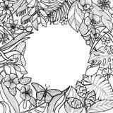 Тропическая круглая рамка Стоковая Фотография