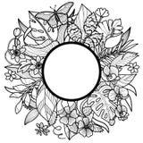 Тропическая круглая рамка Стоковое Фото