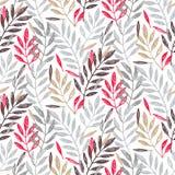 Тропическая ладонь выходит в серое, красный цвет и цвета золота, безшовную картину листвы Стоковые Фото