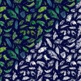 Тропическая ладонь выходит, предпосылка цветочного узора листьев джунглей безшовная, оформление акварели тропическое Стоковые Фото