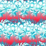 Тропическая пальма с цветками и ладонями гибискуса Стоковая Фотография RF