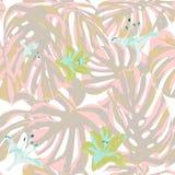 Тропическая печать картина джунглей безшовная Мотив лета вектора троповый с гаваискими цветками иллюстрация штока