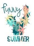 Тропическая печать лета пляжа с лозунгом для футболок, плакатов, карточки и другого пользы иллюстрация штока